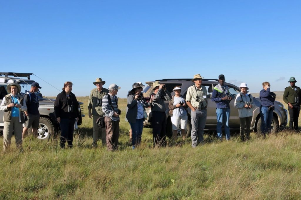 Visitors attend a birding workshop