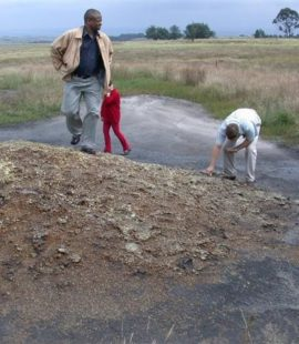 Artesian spring contaminated with water polluted with sulphates